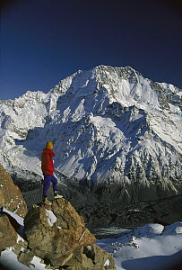 Hiker looking at Mt Cook, known locally as Aoraki, from Malte-Brun, Southern Alps, New Zealand - Colin Monteath