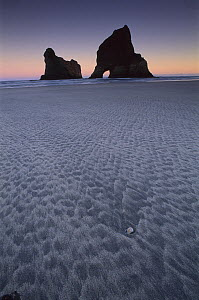 Sand patterns and seastacks, Golden Bay, New Zealand  -  Andy Reisinger