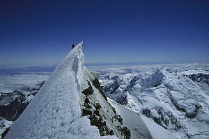 Climber on summit of Mount Cook, Mount Cook National Park, New Zealand  -  Ned Norton