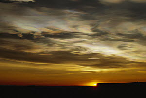 Nacreous Mother of Pearl' clouds seen over Ross Island in late winter, early spring, Antarctica  -  Keith-Nels Swenson