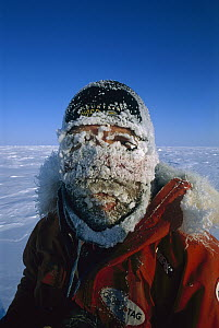 Jon Muir iced-up face on trek from Siberia to North Pole, Arctic  -  Eric Phillips