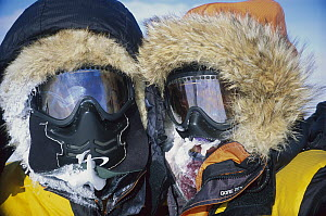 Jon Muir and Eric Philips iced-up faces on trek to South Pole, Antarctica  -  Eric Phillips