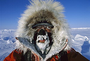 Eric Philips iced-up face on trek from Siberia to North Pole, Arctic  -  Eric Phillips