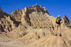 Man hiker, 52, in shorts, boots and hat, carrying backpack and water bottle, standing and looking ahead at the difficult and rocky broken terrain he wants to hike in, autumn noon, Badlands National Pa... - Yva Momatiuk & John Eastcott