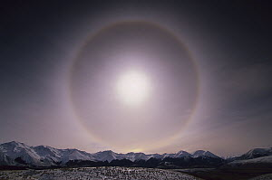 Sun halo over Southern Alps, caused by ice crystals in the air, Castle Hill, New Zealand - Colin Monteath