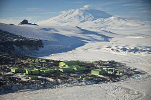 Science research base on Ross Island with Mount Erebus behind, Antarctica  -  Colin Monteath