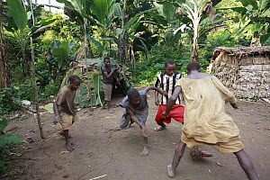Baka soccer match with a ball made from leaves, Cameroon - Cyril Ruoso