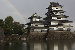 Matsumoto Castle with rainbow, Nagano Prefecture, Honshu, Japan - Cyril Ruoso