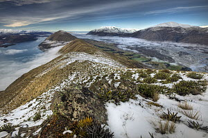 Clouds covering Lake Coleridge and Rakaia River from Mount Oakden with Mount Hutt on right, Canterbury, New Zealand  -  Colin Monteath