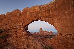 Turret Arch as seen through the North Window Arch at sunrise, Arches National Park, Utah  -  Ingo Arndt