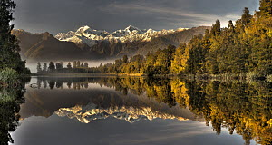 Dawn reflection of Lake Matheson with Mount Tasman and Mount Cook, Westland National Park, New Zealand - Colin Monteath