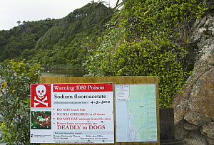 Warning sign warning of presence of poison to hikers and pet owners, Karamea, South Island, New Zealand  -  Yva Momatiuk & John Eastcott