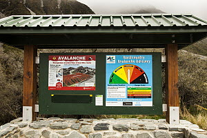 Backcountry avalanche warning signs, Ball Pass, Mount Cook National Park, Canterbury, New Zealand  -  Colin Monteath