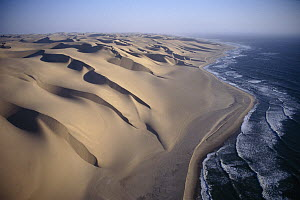 Aerial view of sand dunes along the Skeleton Coast, Walvis Bay, Namibia  -  Michael & Patricia Fogden