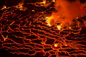 Lava in volcanic crater, Mount Nyiragongo, Virunga National Park, Democratic Republic of the Congo  -  Vincent Grafhorst