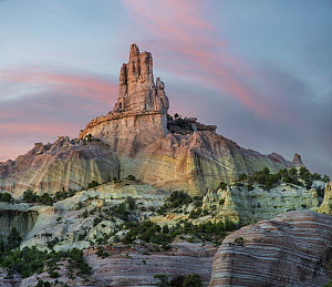 Rock formation at twilight, Church Rock, Red Rock State Park, New Mexico  -  Tim Fitzharris