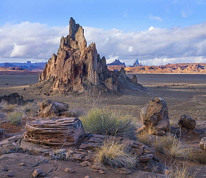 Church Rock, volcanic neck formation with view into Monument Valley, Arizona  -  Tim Fitzharris