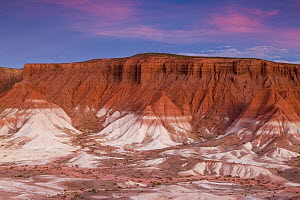 Clay rock formations at sunset, Valley of the Moon, Abra Granada, Andes, northwestern Argentina  -  Sebastian Kennerknecht