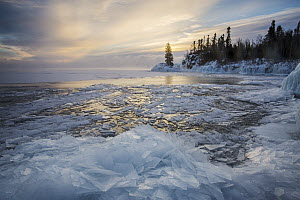 Skim ice in negative thirty degree fahrenheit at sunrise, Lake Superior, Grand Portage National Monument, Minnesota  -  Benjamin Olson