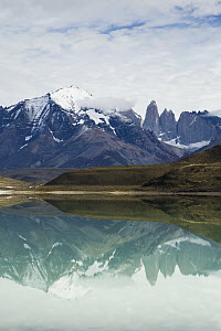 Mountains reflected in saline lake, Amarga Lagoon, Torres del Paine, Torres del Paine National Park, Patagonia, Chile  -  Sebastian Kennerknecht