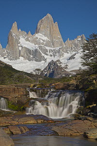 Waterfall and peak, Fitzroy Massif, Los Glaciares National Park, Patagonia, Argentina - Yva Momatiuk & John Eastcott