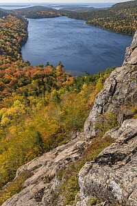 Deciduous forest and pond in autumn, Jordan Pond, Mount Desert Island, Acadia National Park, Maine  -  Jeff Foott