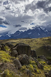 Rock formations and mountain range, Cordillera Paine, Torres del Paine National Park, Chile  -  Benjamin Olson