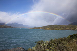 Rainbow over lake, Lake Pehoe, Torres del Paine National Park, Chile - Benjamin Olson