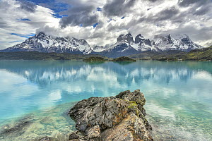 Lake and mountains, Cuernos del Paine, Torres del Paine National Park, Patagonia, Chile  -  Shane P. White