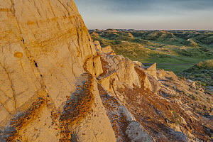 Sandstone rock formations, Theodore Roosevelt National Park, North Dakota  -  Jeff Foott