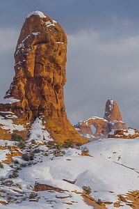 Turret Arch in winter, Arches National Park, Utah  -  Jeff Foott