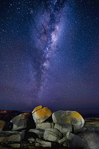 Granite rocks with lichen and Milky Way, Bicheno, Tasmania, Australia  -  Gary Bell/ Oceanwide