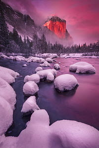 El Capitan above Merced River in winter at sunset, Yosemite National Park, California  -  Chase Dekker