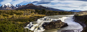 River and mountains, Paine Waterfall, Paine River, Torres del Paine, Torres del Paine National Park, Patagonia, Chile  -  Sebastian Kennerknecht