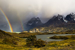 Double rainbow with lakes and mountains, Cuernos del Paine, Torres del Paine National Park, Patagonia, Chile  -  Sebastian Kennerknecht
