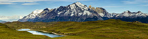Pre-Andean shrubland, lake, and mountains, Torres del Paine, Torres del Paine National Park, Patagonia, Chile  -  Sebastian Kennerknecht