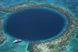 The Blue Hole, largest underwater sinkhole and popular diving site, Lighthouse Reef, Belize  -  Norbert Wu