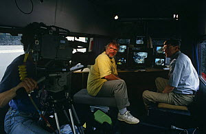Bill Oddie and Peter Holden in outside broadcast Bird in the Nest series during filming, 1994  -  Ben Osborne