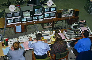 Looking down at control centre at BBC Broadcasting House for Bird in the Nest series in 1994  -  Ben Osborne