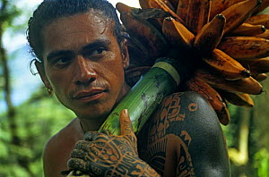 Marquesan with native Banana crop, filmed for BBC television series 'Nomads of the Wind', Polynesia, 1992 - Mark Jacobs