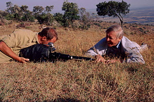 David Attenborough with Gavin Thurston filming grass in Kenya for 'Private Life of plants' 1993 - Keith Scholey
