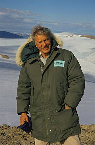 "Sir David Attenborough on Ellesmere Island. on location for BBC series ""Private Life of Plants"" 1995. - NEIL NIGHTINGALE"