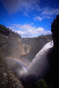 Rainbow across Vaur�al falls on Anticosti Island, Quebec, Canada  -  Louis Gagnon