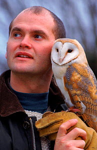Simon King, cameraman and television presenter with Barn Owl. 1996  -  BBC