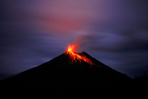 Lava flows from errupting Arenal volcano at night. Costa Rica  -  Neil Lucas