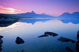 Sunrise over Loch Bad a Ghaill, near Inverpolly nature reserve.  Ross and Cromarty, Scotland.  -  Tim Edwards