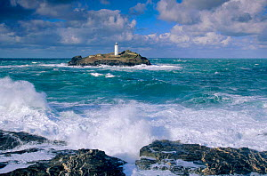 Lighthouse and rough seas at Godrevy Point, Cornwall, England  -  David Noton