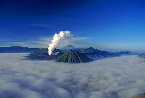 Mount Bromo smoking above cloud layer (active volcano) Indonesia - Michael Pitts