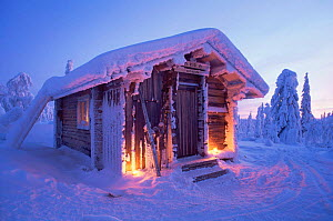 Cosy looking hut surrounded by snow laden trees in winter, Finland  -  Lassi Rautiainen