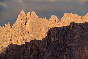 Passo di Giau (2236m) at sunset, August, Italian Dolomites. Northern Itlay, Europe  -  Tim Edwards